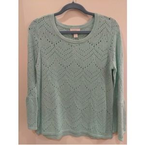 LOFT outlet size S pale blue-green eyelet sweater